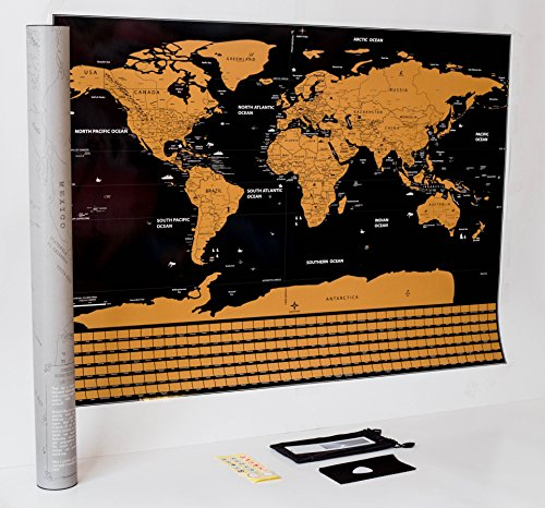 Scratch off World Map Poster: Premium 33x23, all US states tracked, country flags. For travellers, great gift. 5 free accessories: memory stickers, scratcher, magnifying glass, bag, cleaning cloth