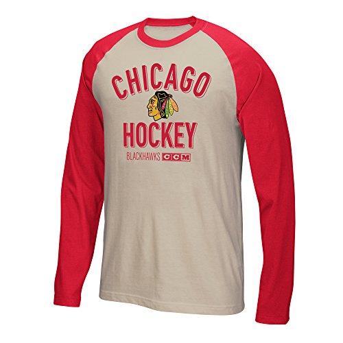 (Reebok Chicago Blackhawks CCM NHL Winner Tri-Blend Men's Long Sleeve White Crew Shirt)