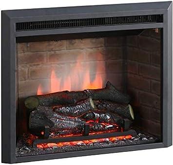 RICHEN Chimenea eléctrica Plamen - Chimenea empotrada con calefacción, iluminación LED, efecto de llama 3D y control remoto - Negro