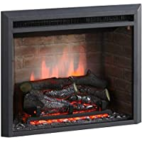 RICHEN Chimenea eléctrica Plamen - Chimenea empotrada con calefacción, efecto de llama 3D, función de crepitación y…