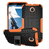 rooCASE Nexus 6 Case - rooCASE [TRAC Armor] Hybrid Nexus 6 2014 Dual Layer Rugged Case Cover with Kickstand rooCASE for Google Nexus 6 Phone 5.9-inch (2014), Orange