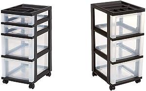 IRIS 4-Drawer Rolling Storage Cart with Organizer Top, Black with IRIS 3-Drawer Rolling Storage Cart with Organizer Top, Black
