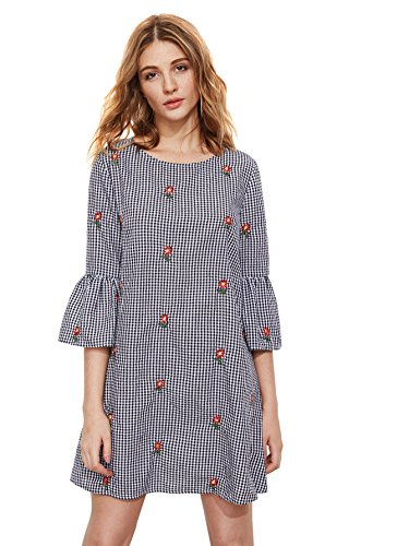 Bell Sleeves Tunic (Floerns Women's Bell Sleeve Embroidered Tunic Dress Black White Plaid XL)