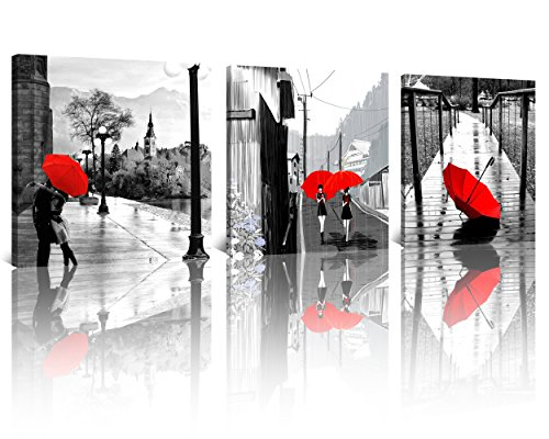 NAN Wind 3 Pcs Modern Giclee Canvas Prints Black and White with Red Umbrellas Couple Canvas Wall Art Romantic Landscape Paintings on Canvas Stretched and Framed Ready to Hang for Home Decor