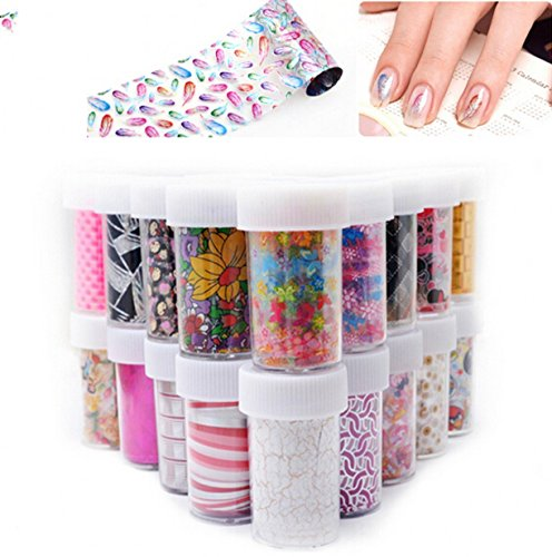 (WellieSTR 50Designs(#01-#50) Nail Art Transfer Foils Stickers, Sexy Flowers Butterfly Nail Decals,Nail Tips Accessory Decoration Tool)