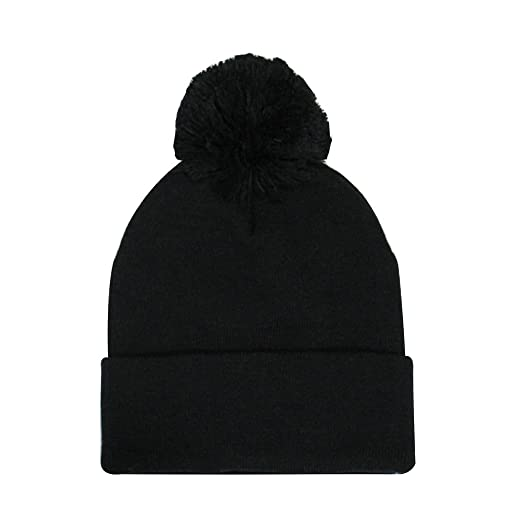 ChoKoLids Plain Pom Pom Beanies Winter Knit Hats (10 Colors) (Black ... 0eba5151be2