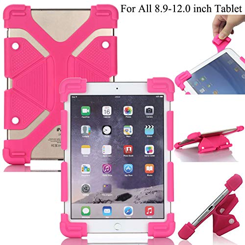 Universal 8.9-12.0 inch Tablet Case, Artyond Shockproof Silicone Cover with Stand Feature iPad Air/Air2/iPad Pro 10.5,Kindle HD10,Asus,Samsung Galaxy Tab & Other 8.9-12.0 inch Tablets (Rose)
