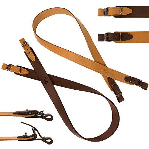 BronzeDog Leather Rifle Strap Hunting Accessories Adjustable Shotgun Belt Durable Sling (Dark Brown with Light Brown Details)