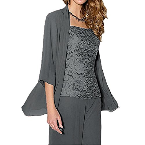 WHZZ Womens 3 Pieces Chiffon Mother of The Bride Dress with Jacket Pant Suits Grey