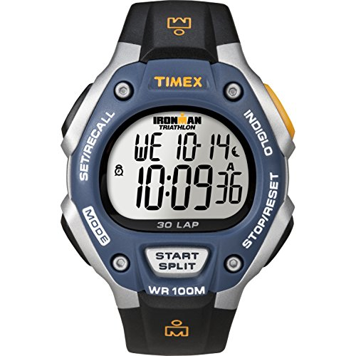 Timex Men's Ironman | 30-Lap Full Size Blue Bezel Black Strap Sport Watch T5E931 (Hands Free Indiglo Night Light)