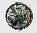 Kraken Octopus Compact Mirror Victorian Steampunk Sea Monster Squid Make Up Pocket Mirror for Cosmetics