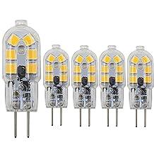 Dayker 2W G4 LED Bi Pin Bulb Jc Type G4 Base Lightbulb AC/DC 12V Warm White for Ceiling Lights, Accent Lights, Puck Lighting(5 Pack)
