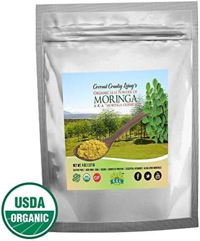 Organic Moringa Leaf Powder Raw Premium Grade 8 oz Nutrient Dense Health Boost for Body