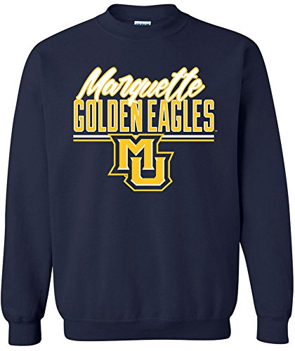 NCAA Marquette Golden Eagles Script Crewneck Sweatshirt, XX-Large,Navy