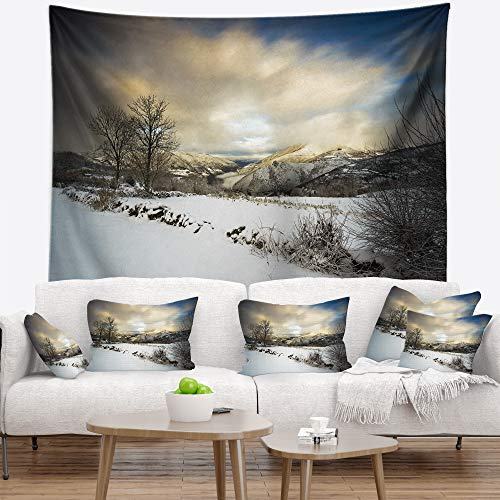 Designart TAP9493-60-50 'Snow Storm in Spain' Landscape Photography Tapestry Blanket Décor Wall Art for Home and Office, Large: 60 in. x 50 in, Created on Lightweight Polyester Fabric by Designart