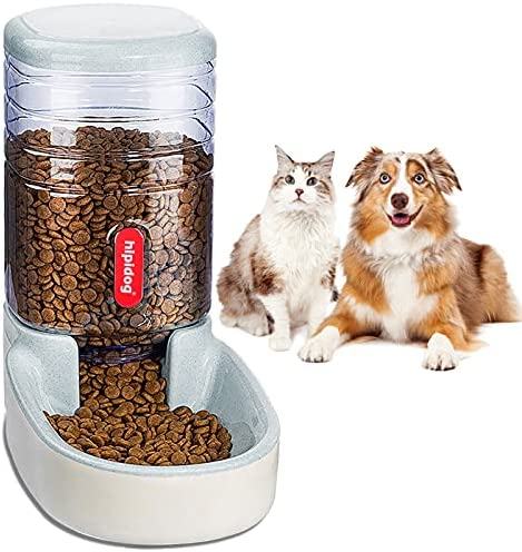 Automatic Pet Feeder Small&Medium Pets Automatic Food Feeder and Waterer Set 3.8L, Travel Supply Feeder and Water Dispenser for Dogs Cats Pets Animals (Gray Food Feeder)