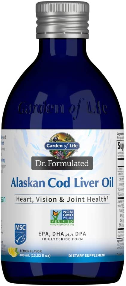 Garden of Life Dr. Formulated Alaskan Cod Liver Oil - Lemon Flavor, 80 Servings - 1000 mg Omega 3s (EPA, DHA & DPA) + Vitamins A & D, Non-GMO, Sustainably Sourced & Line-Caught, 400mL (13.52 fl oz)