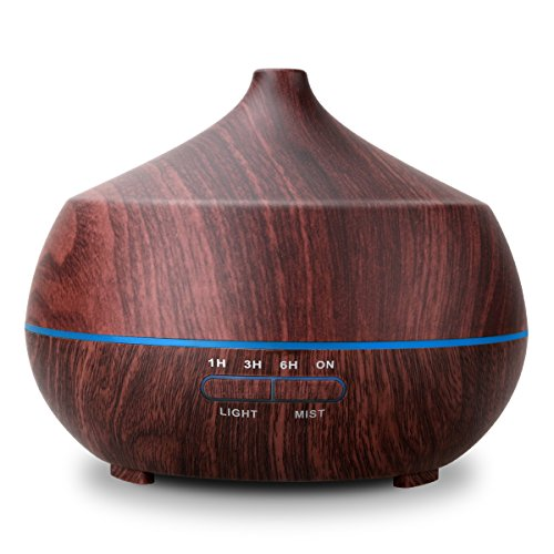 AROVA Aromatherapy Essential Oil Diffuser , 400ML , with Aroma Cool Mist Humidifier , Adjustable Mist Mode , Auto Shut-off , 7 Color Changing LED Light for office home baby - Black Wood Grain