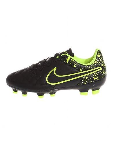 premium selection 6fea2 d5b7e Image Unavailable. Image not available for. Color  Nike Jr. Tiempo Genio  Leather FG Soccer Cleat (Black, Volt) ...