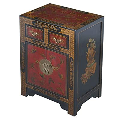 EXP Handmade Oriental Furniture 27-Inch Antique Style Black End Table with Nature Motifs