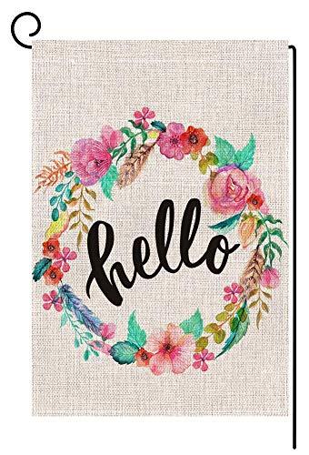 BLKWHT Hello Floral Wreath