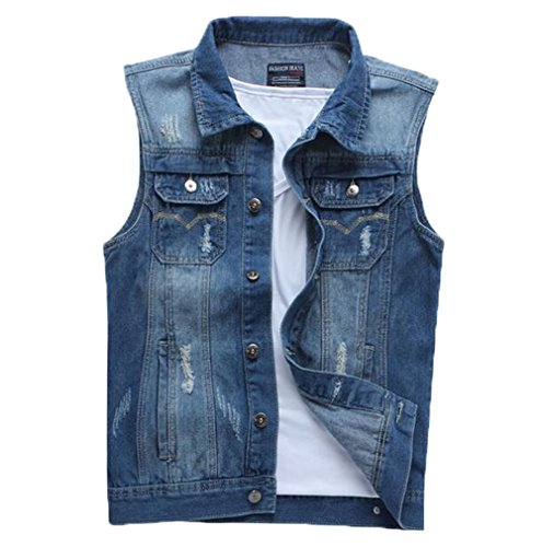 Only Faith Men's Cowboy Vest Jeans Sleeveless Shirt Personality Denim Sleeveless Coat (L) by Only Faith-men's Jean Vest