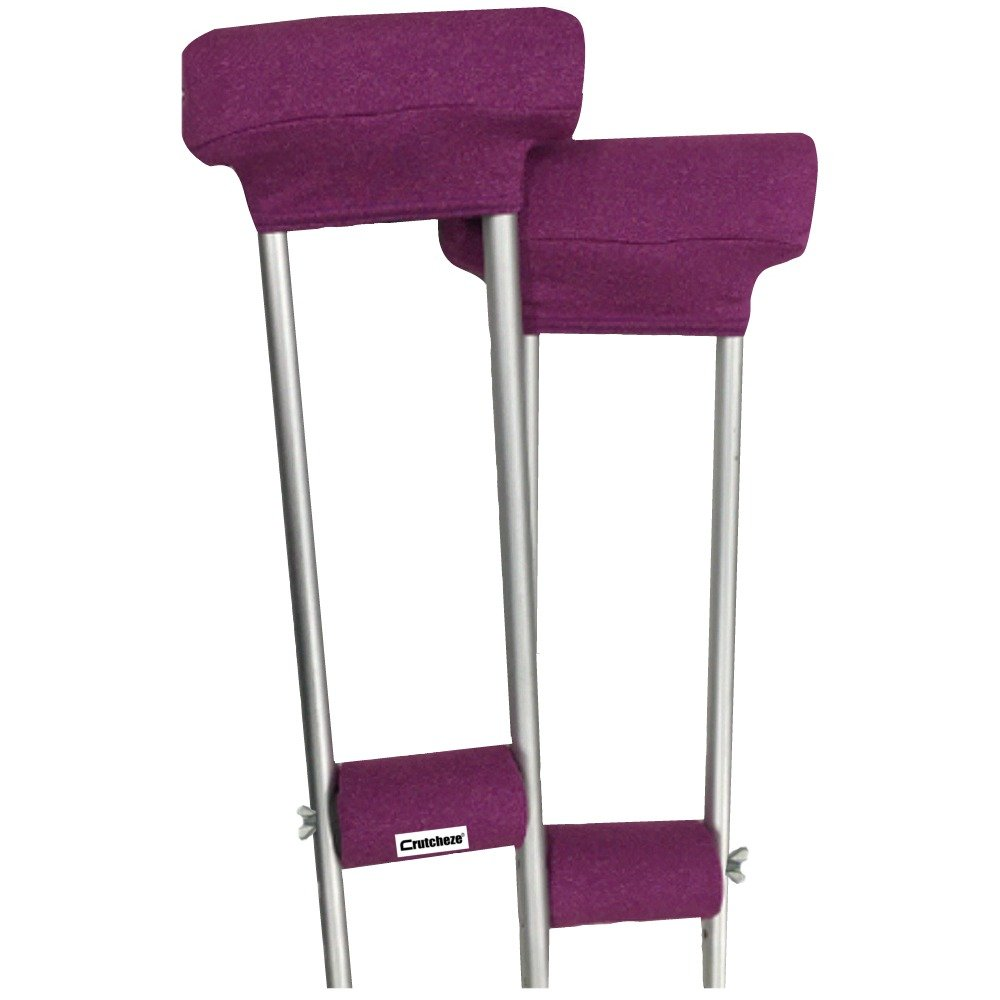 Crutcheze Pink Heather Crutch Pad Set - Underarm & Hand Grip Covers with Comfortable Padding - Crutch Accessories Made In USA (2 Armpit, 2 Hand Cushion)