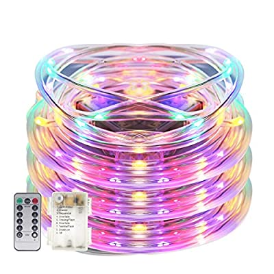 Senbao 17ft 50 LED Dimmable Rope Lights, Battery Powered, Waterproof, 8 Modes/Timer, Fairy Lights for Garden Patio Party Christmas Thanksgiving Outdoor Decoration