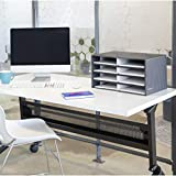Bankers Box Decorative Eight Compartment Literature Sorter, Letter, Black/Gray Pinstripe