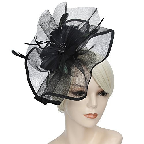 Acecharming Fascinators for Women, Feather Sinamay Fascinators with Headbands Tea Party Pillbox Hat Flower Derby Hats(Large Size Black)