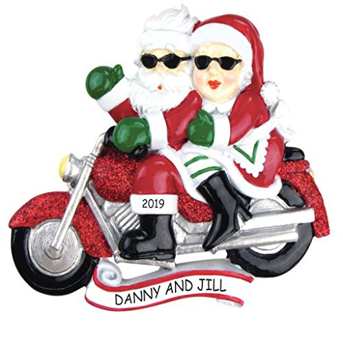 DIBSIES Personalization Station Personalized Motorcycle Mr & Mrs Claus Couples Christmas Ornament (Davidson Harley Tree Christmas)
