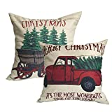 U-LOVE 2Pack Merry Christmas Pillow Cover with Christmas Tree and Vintage Red Truck Pattern Cotton Linen Home Decorative Throw Cushion Case 18 x 18 inch (Christmas-1)