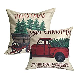 2Pack Merry Christmas Pillow Cover with Christmas Tree and Vintage Red Truck Pattern Cotton Linen Home Decorative Throw…
