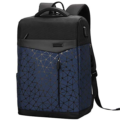 (Stylish College Bag Antitheft Waterproof Business Slim Travel Backpack for Men USB (Navy)