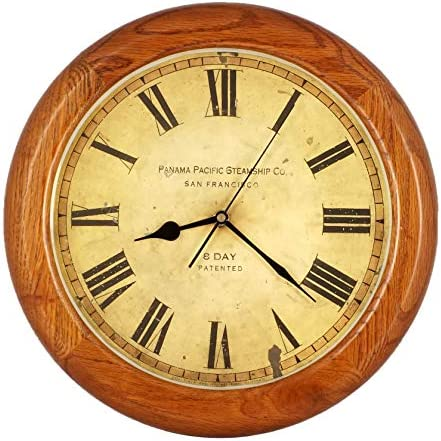 ISHIWA 14-inch Finest Round Oak Solid Wood Quality Quartz Wall Clock Home Decor WW0123-11