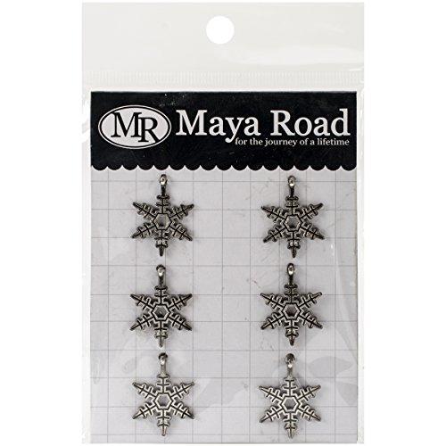 Maya Road Bells Snowflakes Vintage Metal Charms 6 Pieces Per Pack , 0.7