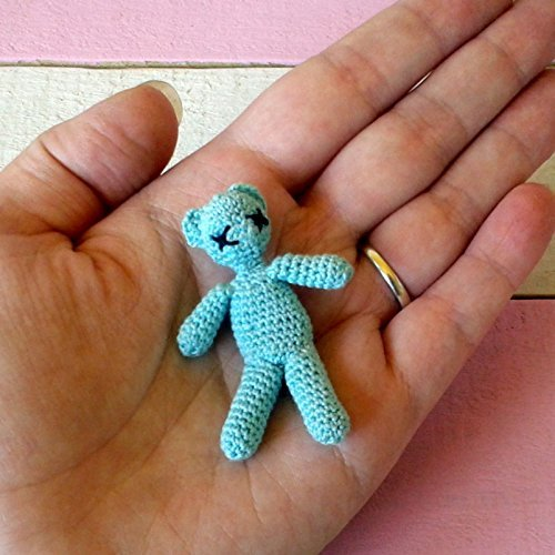 Miniature crochet bear for doll. 1:6 scale dollhouse amigurumi toy. Handmade knitted blue/green bear