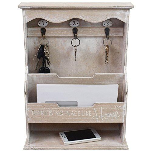 Praktischer Wandorganizer - Memoboard mit Schlüsselbrett und verschiedenen Ablagen, 30x40x10,5cm, Holz - Memotafel Flur Diele Dekoration