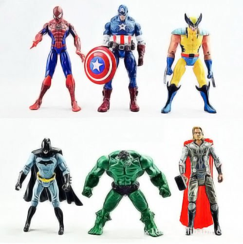 [Brand New 6Pcs The Avengers Hulk Wolverine Batman Action Figure Xmas Gift Toy] (A League Of Their Own Costume Reviews)