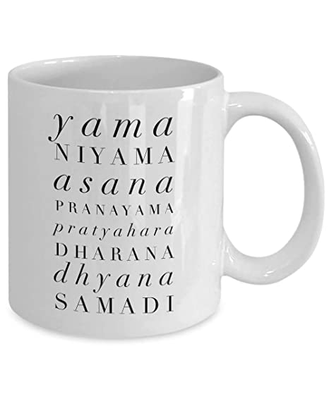 DKISEE Yoga Gift Coffee Mug - Yama, Niyama, Asana, Pranayama ...