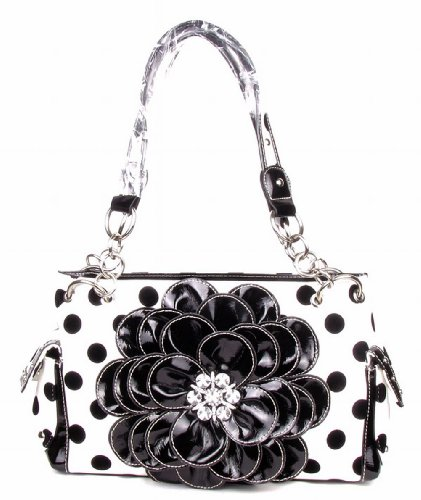 Polka Dots Rhinestone 3d Flower Handbag Purse with Matching Wallet Free Bracelet (Black)
