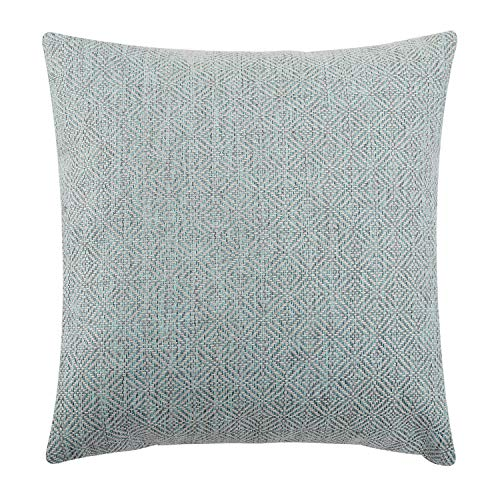 (Jepeak Burlap Linen Throw Pillow Cover Rhombus Pattern Cushion Case, Solid Thickened Farmhouse Modern Home Decorative Square Luxury Pillow Case for Sofa Couch Bed (Light Cyan/Grey, 16 x 16 Inches))