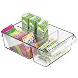mDesign Storage Container for Mini Fridge, Kitchen, Refrigerator, Freezer, Pantry, Cabinets - Divided, Clear