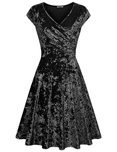New Frocks (SeSe Code Midi Wrap Dress, Women Evening Partying Velvet Maternity Formal 2XL Womens Clothing Classy Youth Latest Fashion New Chic Fresh Grace Empire Waist Draped Dresses Black XXL)