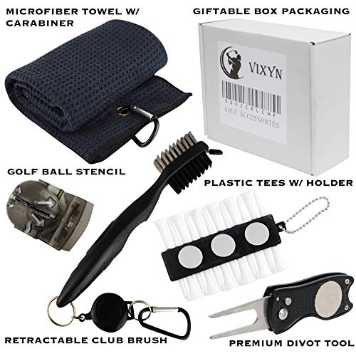 VIXYN Golf Accessories Gift Set - Golf Towel, Golf Club Brush with Groove Cleaner, Foldable Divot Repair Tool with Ball Marker, Golf Ball Marker and Golf Tee Holder - Golf Club Cleaning Kit
