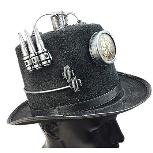 Storm Buy ] Steampunk Top Hat Mad Scientist Time Traveler Feather Halloween Costume Cosplay Party with Clock(Silver -