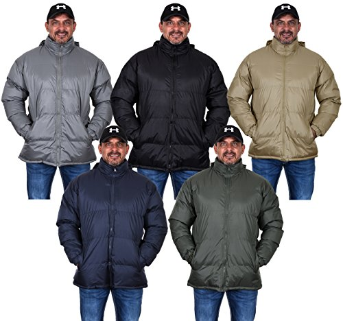 eather Mock Neck Puffer Jacket With Zip Off Hood In 5 Great Colors (X-Large, Gray) (Neck Puffer Jacket)