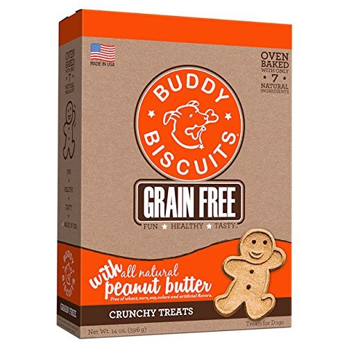 51qEe25tylL - Cloud Star Grain Free Oven Baked Buddy Biscuits Dog Treats, All Natural Peanut Butter, 14-Ounce