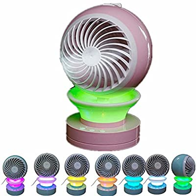 Lucstar Personal Portable Table Fan with Mist Humidifier Purifier,Table Lamp Gradient Changing Colors,Powered by USB Charger,Quiet Design for Office Desk Bedroom Living Room Travel Car Gift