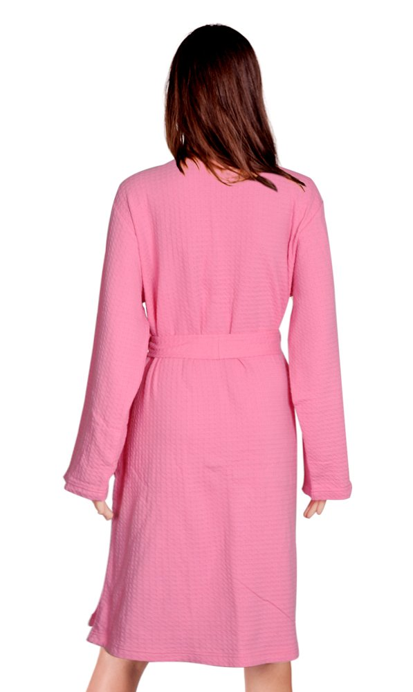Cece Womens Robe Waffle Spa Bathrobe Lightweight Hotel Sleepwear Pink